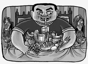 我们每天拼命吃,饱饱地吃,吃很多好吃的